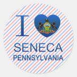 Amo el Seneca, PA Pegatinas Redondas