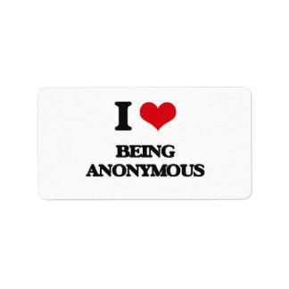 Amo el ser anónimo etiquetas de dirección