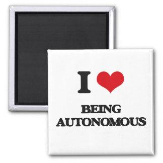Amo el ser autónomo imán cuadrado