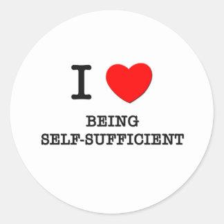 Amo el ser autosuficiente etiquetas redondas