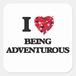 Amo el ser aventurero pegatina cuadrada