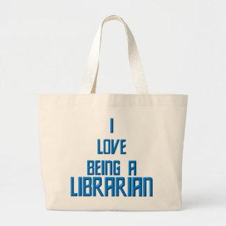 Amo el ser bibliotecario bolsa tela grande
