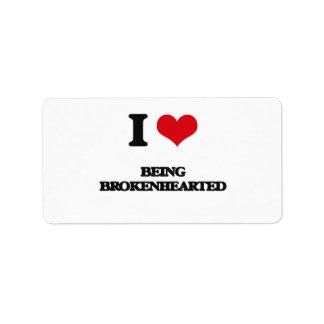 Amo el ser Brokenhearted Etiquetas De Dirección