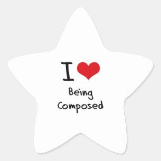 Amo el ser compuesto calcomania cuadrada personalizada