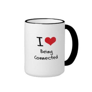 Amo el ser conectado tazas de café
