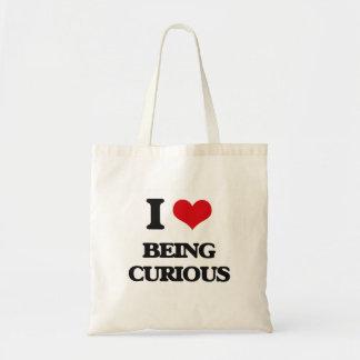 Amo el ser curioso bolsas lienzo