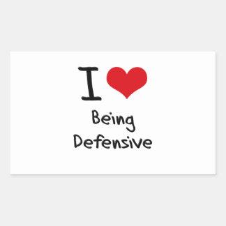 Amo el ser defensivo rectangular pegatina