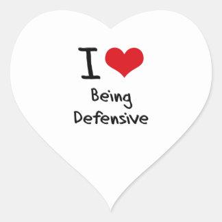 Amo el ser defensivo pegatinas corazon personalizadas