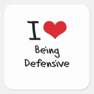 Amo el ser defensivo pegatinas cuadradases