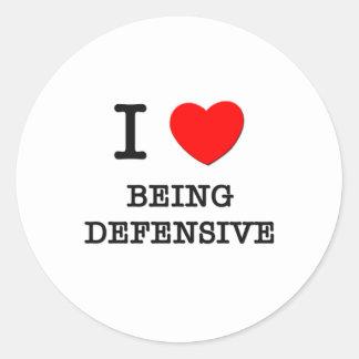 Amo el ser defensivo etiquetas redondas