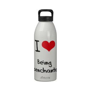 Amo el ser desencantado botella de agua reutilizable