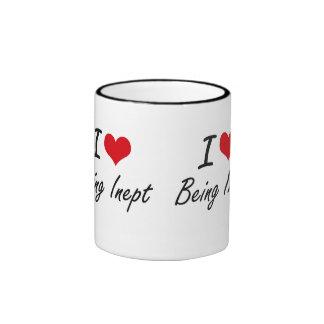 Amo el ser diseño artístico inepto taza de dos colores