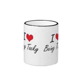Amo el ser diseño artístico pegajoso taza de dos colores