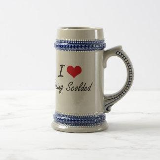 Amo el ser diseño artístico regañado jarra de cerveza