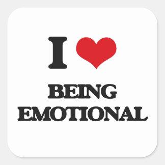 Amo el ser emocional calcomania cuadradas personalizada