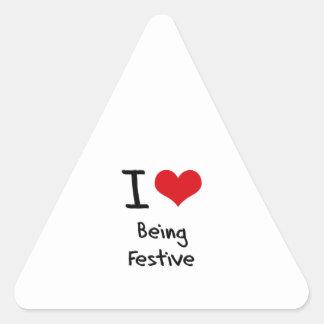 Amo el ser festivo calcomanías de triangulos personalizadas