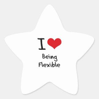 Amo el ser flexible pegatina en forma de estrella