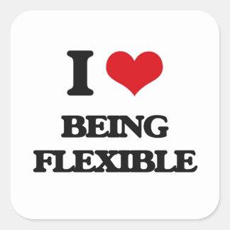 Amo el ser flexible pegatina cuadrada