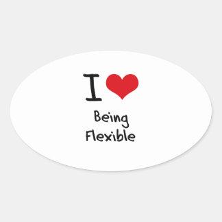 Amo el ser flexible pegatina ovalada