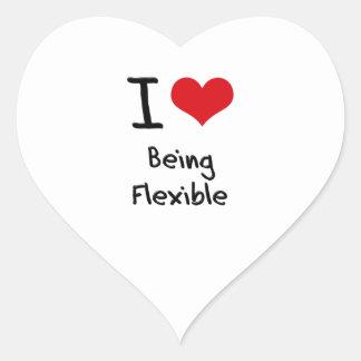 Amo el ser flexible pegatina en forma de corazón