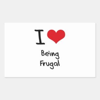 Amo el ser frugal rectangular pegatinas