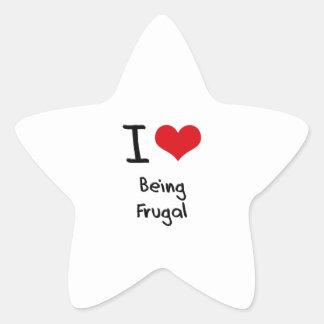 Amo el ser frugal colcomanias forma de estrellaes personalizadas
