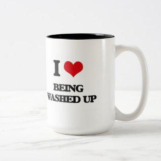 Amo el Ser lavado-Para arriba Taza Dos Tonos