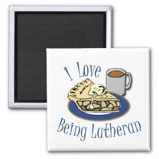 Amo el ser Lutheran divertido Imán Cuadrado