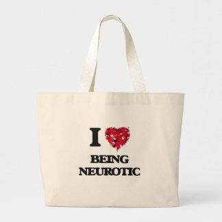 Amo el ser neurótico bolsa tela grande