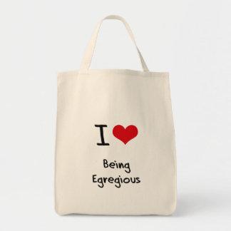 Amo el ser notorio bolsa tela para la compra