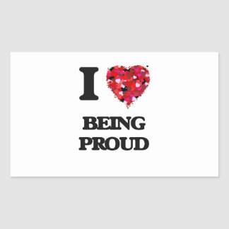 Amo el ser orgulloso pegatina rectangular