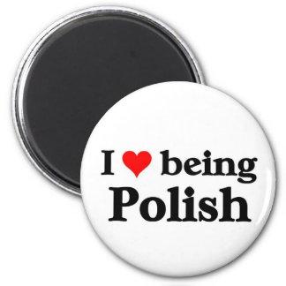 Amo el ser polaco imán redondo 5 cm
