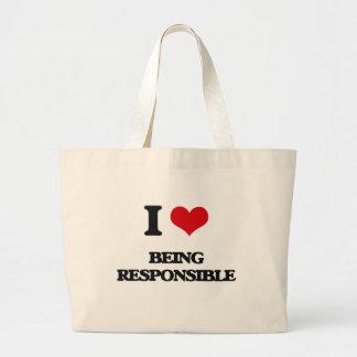 Amo el ser responsable bolsa lienzo