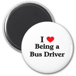 Amo el ser un conductor del autobús imán redondo 5 cm