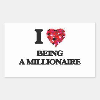 Amo el ser un millonario pegatina rectangular