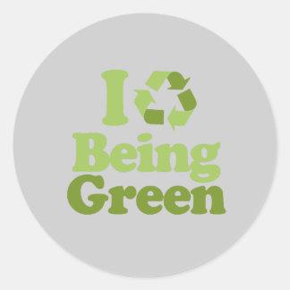 Amo el ser verde pegatinas redondas