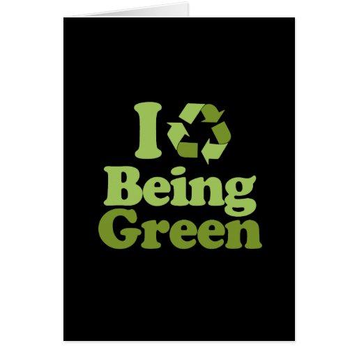 Amo el ser verde tarjeta de felicitación