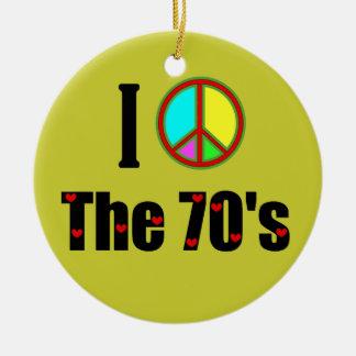 Amo el signo de la paz de los años 70 adorno navideño redondo de cerámica