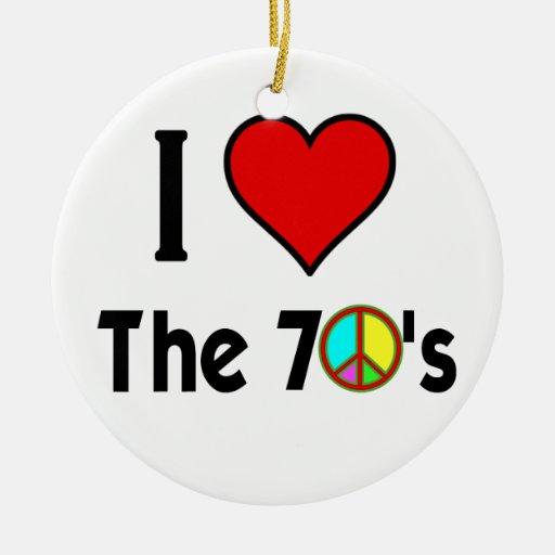 Amo el signo de la paz de los años 70 ornamentos de reyes