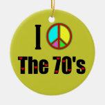 Amo el signo de la paz de los años 70 adorno de navidad