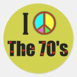 Amo el signo de la paz de los años 70 pegatinas redondas