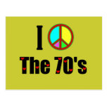 Amo el signo de la paz de los años 70 postal