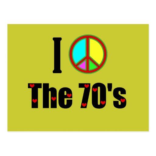 Amo el signo de la paz de los años 70 tarjetas postales