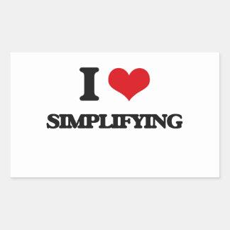 Amo el simplificar pegatina rectangular