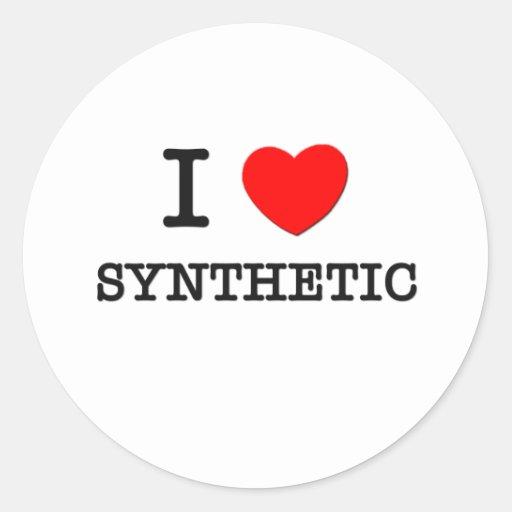 Amo el sintético pegatinas redondas