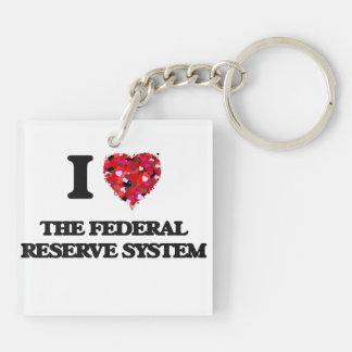 Amo el sistema de Federal Reserve Llavero Cuadrado Acrílico A Doble Cara