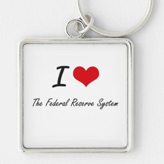 Amo el sistema de Federal Reserve Llavero Cuadrado Plateado