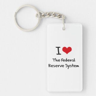 Amo el sistema de Federal Reserve Llavero Rectangular Acrílico A Doble Cara
