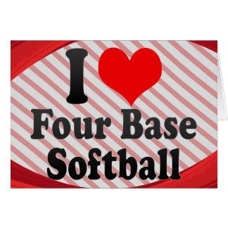 Amo el softball bajo cuatro tarjeta pequeña