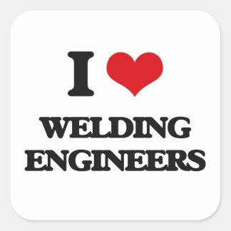 Amo el soldar con autógena de ingenieros pegatinas cuadradas